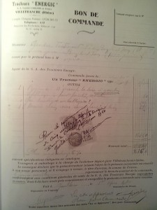 Bon De Commande dated 1/3/1940 for a Energic D9 www.energic.info