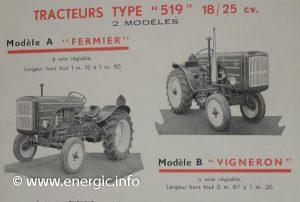 Energic 519 petrol tracteur 2 models A & B vigneron www.energic.info