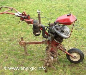 Energic motobineuse ILO Single cylinder 98cm3 (type L 101), 4cv, 2 stroke. C.L.I. abreviation of Carter Lent Incline. www.energic.info