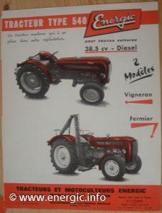 Energic 540 Tracteur (38.5cv 1960) models Fermier and Vigneron www.energic.info