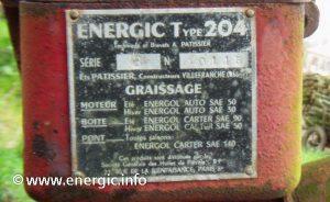 Energic motoculteur 204 moteur plaque www.energic.info