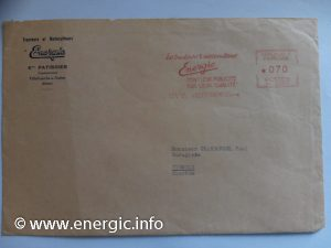 Energic envelope printed and postal marked www.energic.info