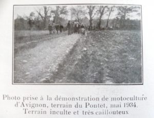 Energic demonstration of motoculteurs at Avignon, on the land of Pontet in May 1934 The land is inclined and stoney! www.energic.info