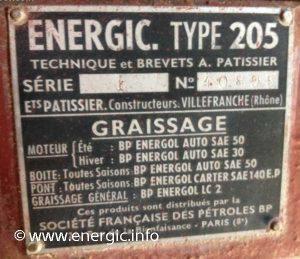 Energic Motoculteur 205 moteur plaque www.energic.info