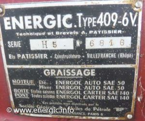 Energic 409 motoculteur plaque www.energic.info