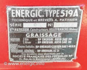 Identification Plaque positioning and type Energic tracteur 519A www.energic.info