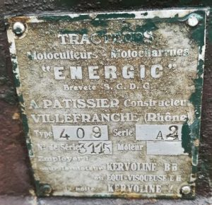 Energic motoculteur 409 very early number on old D9 plaque. www.energic.info