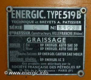 Identification Plaque positioning and type Energic 519 B www.energic.info
