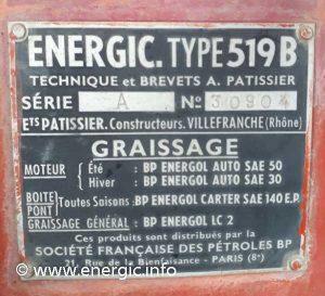 Energic 519B petrol tracteur www.energic.info