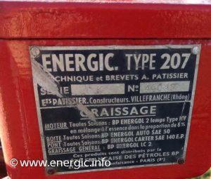 Energic motoculteur 207 moteur plaque www.energic.info