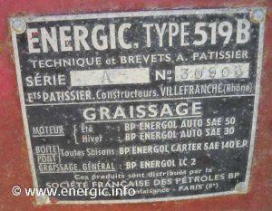 Energic 519 B vigneron plaque www.energic.info