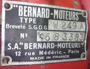 Engine/Moteur. Bernard W249A, 4.5cv, single cylinder. energic.info