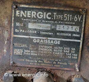 Energic 511 6v tracteur moteur plaque www.energic.info