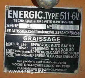 Energic 511 mark 2 plaque. www.energic.info